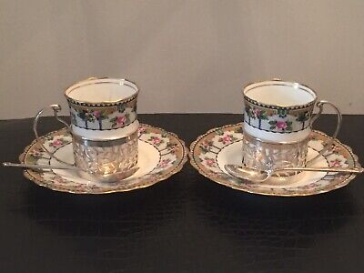 2 Vintage Aynsley Hand Painted Cups And Saucers With Silver Holder And Spoons • 9.99£