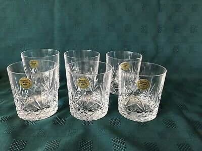 Six Cristal D'Arques Masquerade Whisky Glasses, Crystal Glasses. Used. No Box. • 10£
