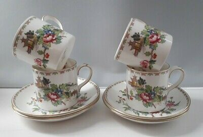 Crown Staffordshire Pagoda 4 Coffee Cans And Saucers VGC • 20£