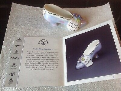 Compton And Woodhouse *Staffordshire Blue Flowers Slipper* Royale Stratford • 6£