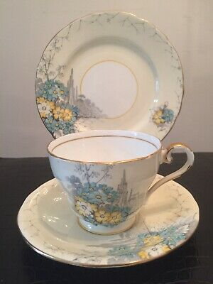 Vintage Hand Painted Aynsley Porcelain Cup Saucer And Side Plate Trio, • 9.99£