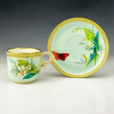 Royal Worcester Porcelain - Butterfly Painted Jewelled & Gilded Cup & Saucer • 14.50£