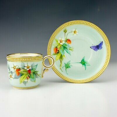 Royal Worcester Porcelain - Butterfly Painted - Jewelled & Gilded Cup & Saucer • 16£