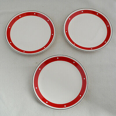 3 1950s Alfred Meakin Red With White Spot Tea Plates • 6.99£