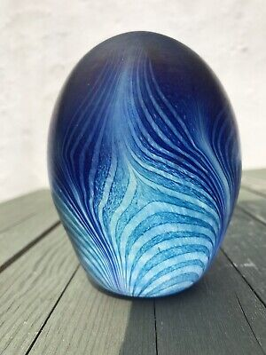 BEAUTIFUL Sanders & Wallace Feather Paperweight Amazing Blues! Iridescent! • 15£