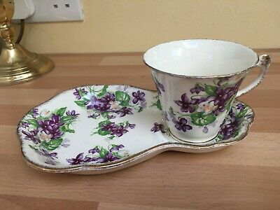 Gorgeous James Kent Violet Pattern Cup On Tray Plate • 12£