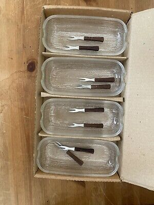 4x Vintage 1970s Glass Sweetcorn Dishes And Forks • 3£