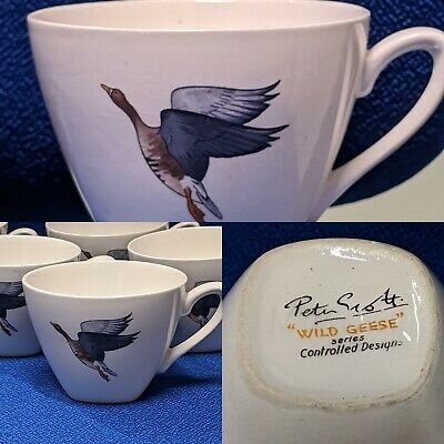 Vintage 1950s Midwinter Pottery Wild Geese Coffee Cups Designed By Peter Scott • 10£