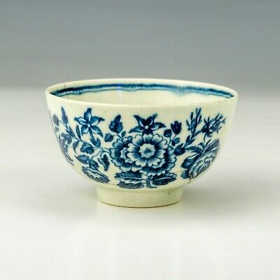 Antique First Period Worcester - Hand Painted Blue & White Decorated Tea Bowl • 9.99£
