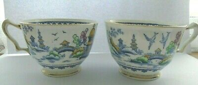 Crown  Staffordshire Willow Pattern Cups • 3£