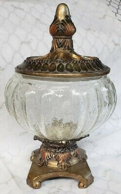 Crackle Glass Potpourri Bowl Bronze With Gold Leaves Accent Lid • 19.66£