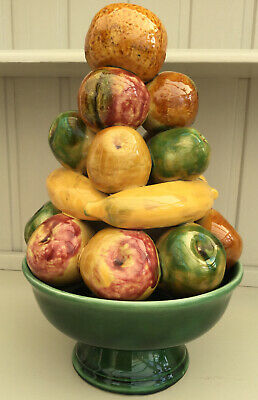 Vintage 1970's Majolica Fruit Tower SECLA Portugal Two Parts • 40£