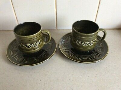 2 X Vintage Sylvac Cups And Saucers In Dark Green • 12£