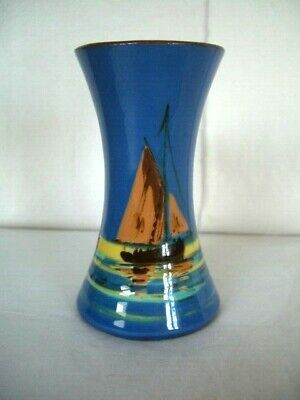 Royal Watcombe Torquay Pottery Spill Vase - Sail Ship Design • 18£
