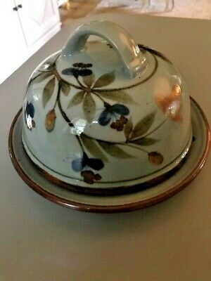 Lochinver Highland Stoneware Pottery Floral Design Small Cheese Butter Dish Dome • 30£