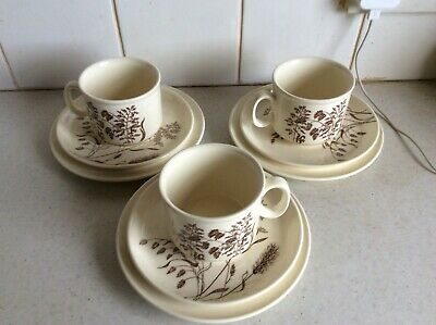 Vintage J & G Meakin Windswept Pattern - 3 X Cups, Saucers And Side Plates • 13.99£
