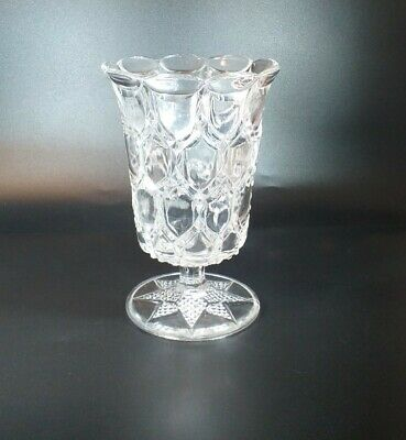 Antique Pressed Glass Star Footed Celery VASE • 27£