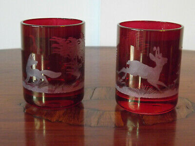 Vintage Pair Of Hunting Themed Engraved Flash Ruby Shot Glasses  • 24.99£
