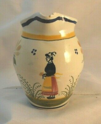 HENRIOT QUIMPER FRENCH POTTERY JUG FAIENCE HAND PAINTED FIGURE & FOLIAGE No 433  • 6£