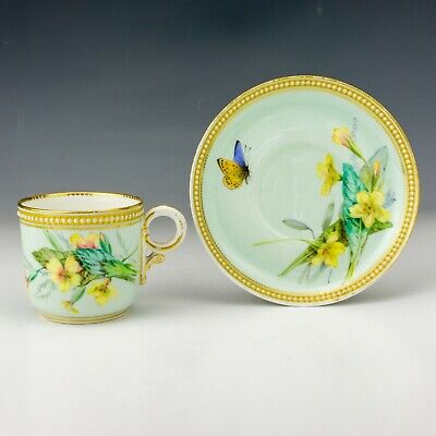 Royal Worcester - Butterfly Painted Jewelled & Gilded China Cup & Saucer • 7.50£