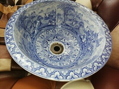 Antique Blue And White Painted Pocelain Wash Basin • 90£