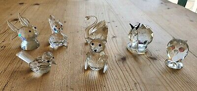 Collection Of 7 Glass / Crystal Faceted Animals Squirrel Swan Snail Etc • 5.50£