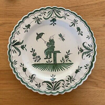 French Faience Plate Hand Painted Green Chinoiserie In The Moustiers Style Date? • 0.99£