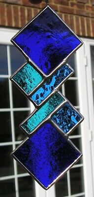 Stained Glass Blue Abstract / Geometric Panel /  Suncatcher, Handmade In England • 18.50£