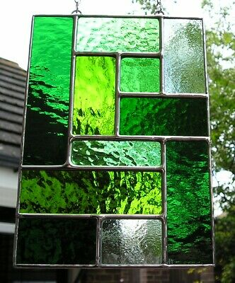 Stained Glass Panel, Abstract / Geometric Suncatcher, Handmade In England • 44£