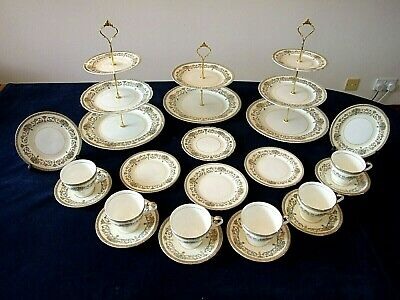 6 Place Teaset With 3 Cake Stands By Aynsley In The Delicate Henley Pattern  • 59.99£