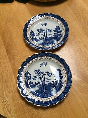 """Vintage Beautiful Booths Real Old Willow Gilded A8025 10"""" Dinner Plates X 2- VGC • 20£"""