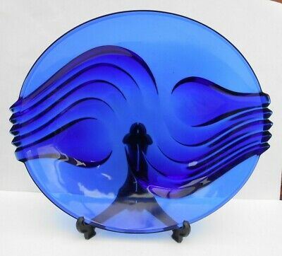 Vintage French Blue Glass Bowl Gorgeous Design Stamped • 48£