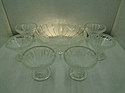 Vintage Pressed Glass Footed Trifle Sundae Serving Bowl And 6 Dishes 2-1/4 Pint • 19.99£