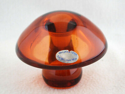 1970s Wedgwood Amber Glass Mushroom Paperweight. With Label • 12£