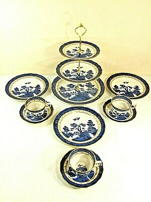 A Tea Set Comprising Of Vintage Booths Real Old Willow China ~ With A Cake Stand • 39.99£