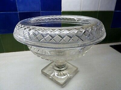 Rare Antique Irish Roll Over Cut Glass Fruit Bowl, Lovely Condition. • 150£