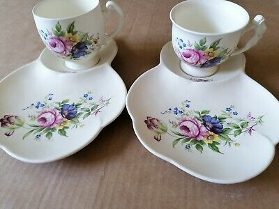 Axe Vale Pottery 2 X Sandwich Sets - Cups With Saucer With Attached Side Plate  • 0.99£