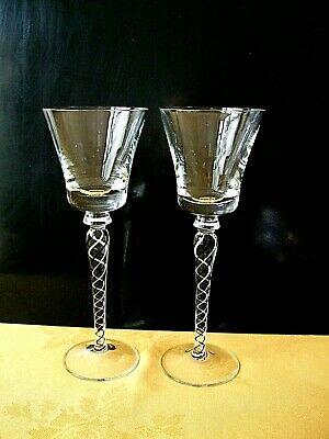 Pair Of Airtwist Stemmed Wine Glasses. • 20£