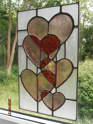 NEW 26.5cm Real Stained Glass Professionally Hand Crafted Hearts Hanging Panel  • 59.99£