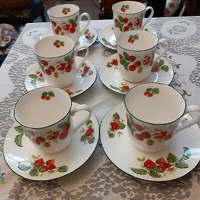 Roy Kirkham X 6 Cups And Saucers  - Fruit Garden Collection  ~  Strawberry  • 20£