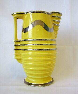 BURLEIGH WARE Bright Yellow & Silver Stylised ART DECO JUG / PITCHER  22cm High  • 10£