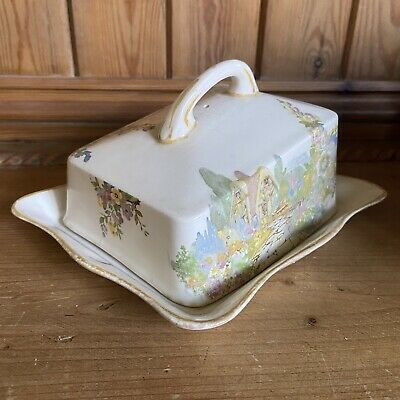 Rare Vintage Swinnertons Old England Gardens Cheese Dish • 29.99£