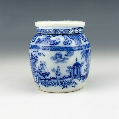 Antique English Pottery - Chinese Inspired Flow Blue & White Ginger Jar • 12.50£