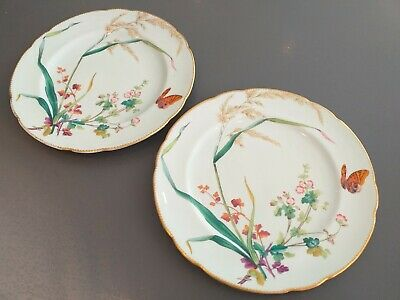 2 Antique MINTON Impressed Mark Green Aesthetic Movement Butterfly Flower Plates • 67£