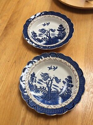 """Vintage Beautiful Booths Real Old Willow Gilded A8025 10"""" Soup Bowls X 2 - Good • 20£"""