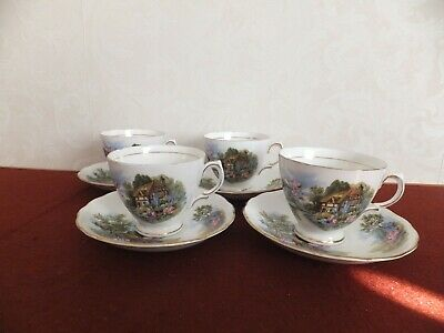 Royal Vale Country Cottage Cup And Saucer X 4 • 18.50£