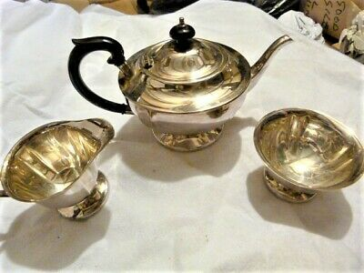 A Vintage Little Used A Chrome Teapot With Milk & Sugar • 20£