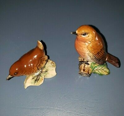 Vintage Beswick Pottery Brown Wren # 993 AND Robin # 980 England Bird Figurine • 23.07£