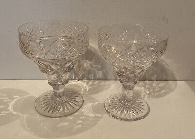 Vintage Crystal Cut Set Of Two Wine Glasses 'His & Hers' - Large & Extra Large • 49.99£