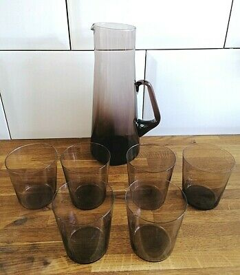 MID CENTURY RETRO SCANDI SMOKE ART GLASS MARTINI LEMONADE JUG + 6 GLASSES 10inch • 44.99£